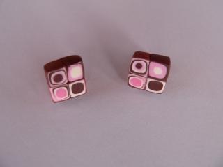 Ohrstecker Klimtstyle aus handmodellierten Perlen in rosa,braun und weiß Fimo Polymer clay