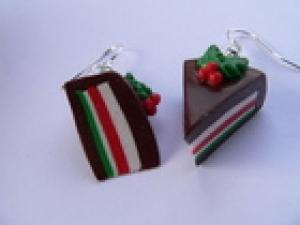 Ohrhänger Weihnachtstorte Ohrringe  Fimo handmodelliert Candyschmuck Weihnachten