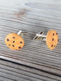 Manschettenknöpfe mit modellierten Cookies aus Fimo Polymerclay Cufflinks - Handarbeit kaufen