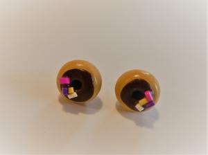 Ohrstecker Donut braun mit bunten Streuseln Ohrringe handmodelliert aus Fimo   Ohrschmuck aus Polymer Clay
