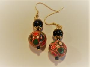 Ohrhänger mit Perlen im Klimtstyle modellierte Perlen aus Fimo Ohrringe Polymer clay Ohrschmuck