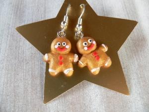 Ohrhänger Lebkuchenmann modelliert originell aus Fimo  Ohrringe Weihnachten