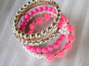 Armband Spiralarmband Wickelarmband mit verschiedenen Perlen  in pink gold weiß