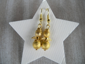 Ohrhänger  Perlen Engel in Gold Ohrringe Ohrschmuck  - Handarbeit kaufen