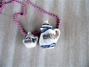 Hals Kette Kaffeekanne und Zuckerdose Puppenstubenschmuck  - Handarbeit kaufen