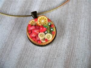 Halsreif belegter Tortenboden Obsttorte modelliert aus Fimo Polymer Clay - Handarbeit kaufen