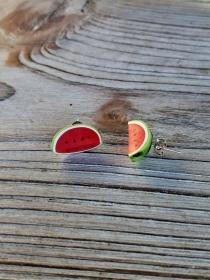 Ohrstecker Melone Ohrringe handmodelliert aus Fimo   Ohrschmuck aus Polymer Clay    - Handarbeit kaufen
