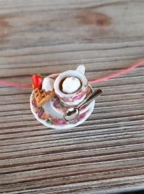 Halsreif Kaffee und Waffel, Collier, Kette mit Anhänger  Puppenstubenschmuck   - Handarbeit kaufen