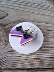 Ohrhänger Heidelbeerorte Ohrringe aus Fimo handmodelliert Candyschmuck aus Polymer Clay witziger Ohrschmuck - Handarbeit kaufen