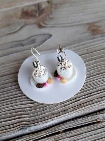 Ohrhänger  Kaffeetassen Ohrringe Kaffee mit Pralinen witziger Ohrschmuck   - Handarbeit kaufen
