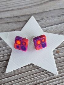 Ohrstecker Klimtstyle aus handmodellierten Perlen in pink,lila und orange Fimo Polymer clay  - Handarbeit kaufen