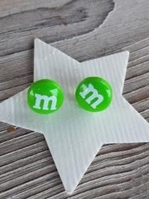 Ohrstecker Schokolinsen Ohrringe bunte Süßigkeiten   witziger Ohrschmuck  - Handarbeit kaufen