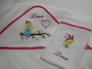 Kapuzen Badetuch Elfe 120 x 120 cm weiß pink inkl. Namen Öko-Tex-Standart 100