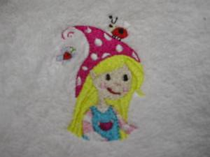 Lätzchen besticket kleine Elfe inkl. Namen weiß/pink
