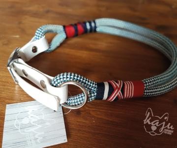 Klettertau-Halsband ★Premium★ 51-56cm // Blau-Rot-Weiß