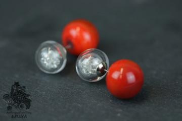 Doppelohrstecker Ohrringe Glasperle gefüllt rote Perle mundgeblasen