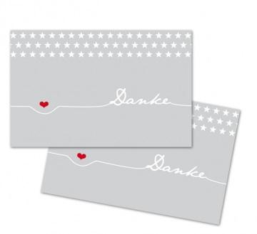 25 Danke-Karten, Sterne, 85 x 55 mm, Grußkarte, Infokarte, hellgrau, V2