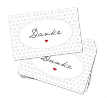 25 Danke-Karten, Blumen, 85 x 55 mm, Grußkarte, Infokarte, hellgrau, V1