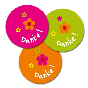 12 Aufkleber, Sticker, Danke, 6 cm, bunt, Blumen