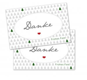 25 Danke-Karten, Geschenkanhänger, Weihnachtskarte, Weihnachten, 85x55 mm, Digitaldruck, Frohes Fest, Christbaum