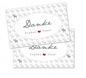 25 Danke-Karten, Geschenkanhänger, Weihnachtskarte, Weihnachten, 85x55 mm, Digitaldruck, Frohes Fest, Elch