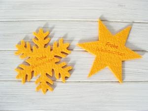 Stern und Schneeflocke, Filz, Weihnachtsdeko, mit Gravur, Weihnachtsgruß,