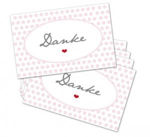 25 Danke-Karten, Blumen, 85 x 55 mm, Grußkarte, Infokarte, rosa, V1