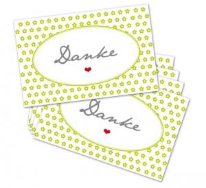 25 Danke-Karten, Blumen, 85 x 55 mm, Grußkarte, Infokarte, maigrün, V1
