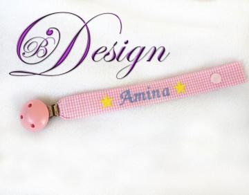 ♡_♡ Schnullerband ♡ mit Namen und Sternen bestickt ♡_♡  - Handarbeit kaufen
