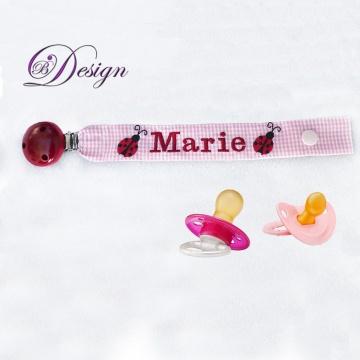 ♡_♡ Schnullerband ♡ Schnullerhalter mit Namen♡ Marienkäfer ♡ bestickt ♡_♡   - Handarbeit kaufen