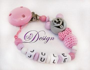 ♡_♡ Schnullerkette mit Namen ♡_♡ 3D Maus ♡_♡ handgefertigt