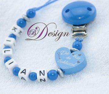 ♡_♡ Schnullerkette mit Namen ♡_♡ Du bist der Schlüssel zu unserem Herzen ♡_♡  - Handarbeit kaufen