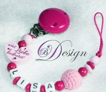 ♡_♡ Schnullerkette mit Namen ♡_♡ Du zeigst uns.... ♡_♡ Herz ♡_♡  - Handarbeit kaufen