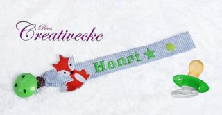 ♡_♡ Schnullerband ♡ mit Namen bestickt ♡ Fuchs und Stern ♡_♡