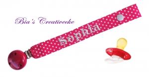 ♡_♡ Schnullerband ♡ individuell mit Namen bestickt ♡_♡ - Handarbeit kaufen