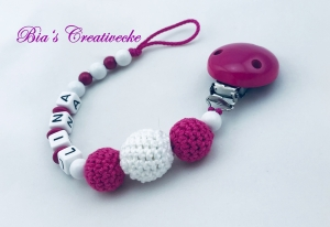 ♡_♡ Schnullerkette mit Namen ♡_♡ pink ♡_♡ Mädchen