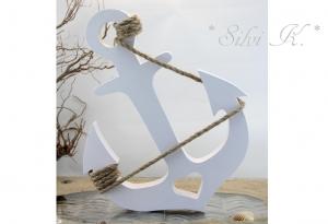 Maritime Holzdekoration, Anker aus Fichtenholz H: 28 cm weiß