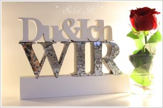 2 tlg Holzdekoration, Schriftzug Du&Ich WIR weiß mit Spiegelmosaik