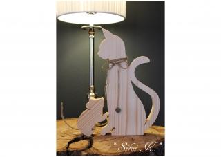 2er Set Katze und Maus H:30cm aus naturbelassenem Holz