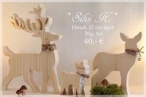 Hirsch - Familie 3 tlg Set aus naturbelassenem Tannenholz