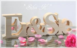 Schriftzug Er&Sie L: 35cm aus Fichtenholz naturbelassen