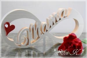 Unendlichkeitszeichen Mama naturbelassen L:36cm -  Geschenk für die Mama - Muttertagsgeschenk