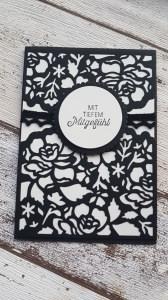 Trauerkarte Blütenzauber, zarter Scherenschnitt mit Rosen