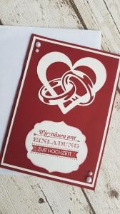 Einladungskarten zur Hochzeit mit Herz und Ringen - Farbwahl
