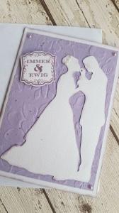 Hochzeitskarte in flieder, Braut und Bräutigam für Immer und Ewig