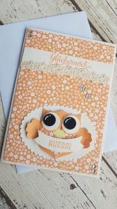 Grußkarte/Glückwunschkarte mit einer großen Eule - nicht nur für Kinder
