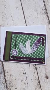 Männerkarte - Nur für dich - mit Federn geschmückt - elegant und schlicht