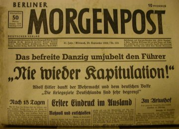 Original Historische Berliner Morgenpost Nr.225-41.Jahr/Mittwoch,20 September 1939. - Handarbeit kaufen