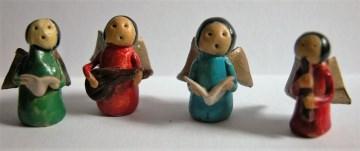 4 Weihnachtsbaumanhänger aus den 60er Jahren,singende Engelchen - Handarbeit kaufen