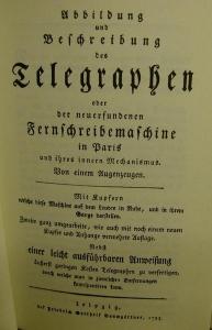 Abhandlungen von der Telegraphie oder Signal- und Zielschreiberei in die Ferne nebst einer Beschreibung und Abbildung  - Handarbeit kaufen